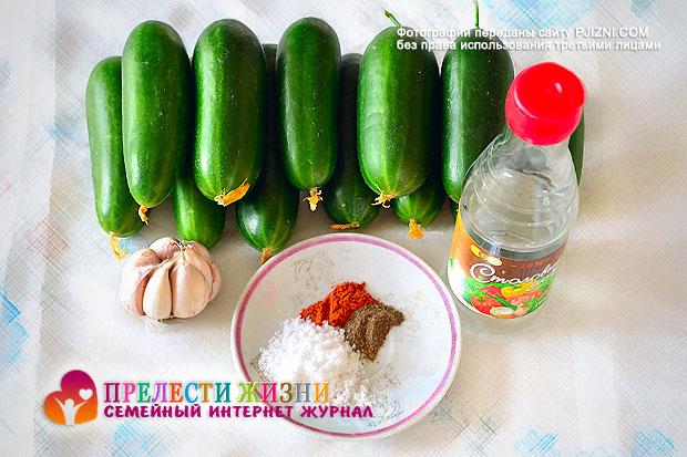Продукты для приготовления салата из огурцов по-корейски