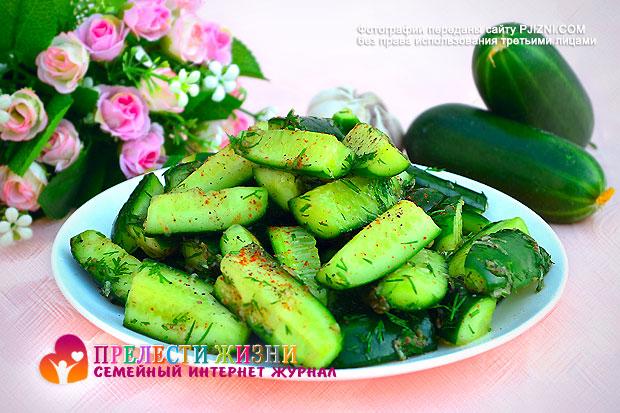 Острый корейский салат из огурцов
