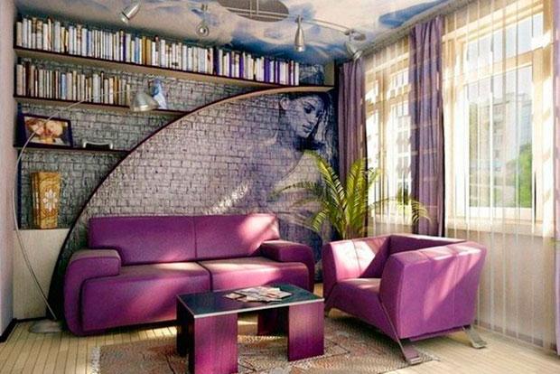 Комната с рисунком на стене